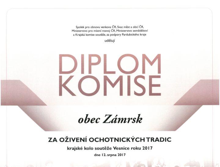 Diplom udělený obci v soutěži Vesnice roku
